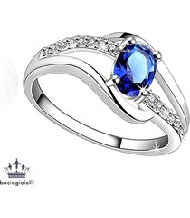 oval shape blue sapphire 925 silver white gold plated women's midi finger ring