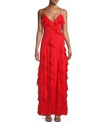 spaghetti-strap ruffled gown
