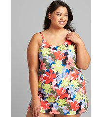 lane bryant women's eco-friendly blouson no-wire swim tankini top 30 pop floral