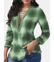 camicetta casual da donna a maniche lunghe con scollo a v tie-dye