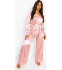 satijnen kanten honeymoon wikkel pyjama met parelknopen, blush