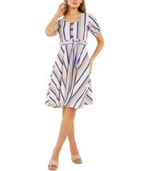 quiz striped skater dress