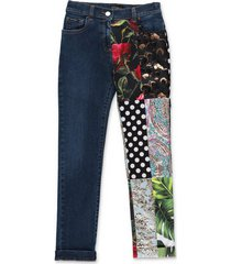 patchwork effect jeans