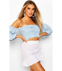 ruched volume sleeve crop top, dusty blue