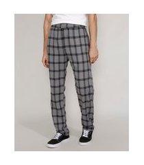 calça de flanela masculina reta estampada xadrez com bolsos chumbo