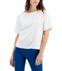 alfani petite textured fringed-trim blouse, created for macy's