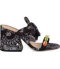 malia embellished bandana-print slide sandals