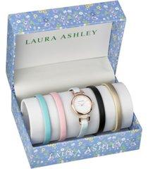 laura ashley rose gold t-bar slidethrough interchangeable stone lugs set watch