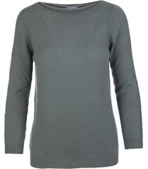 fedeli woman antique green cashmere pullover with boat neck
