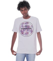 camiseta hawaiian dreams estampada spike flora branca - kanui