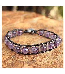 amethyst beaded bracelet, 'hill tribe orchid' (thailand)