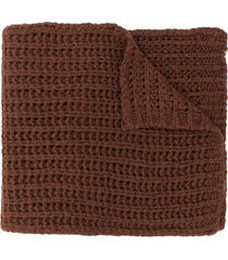 rick owens chunky knit scarf - brown