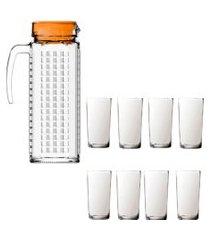 kit 1 jarra vidro ladrilhos laranja 1,2l e 8 copos vidro long sture móveis