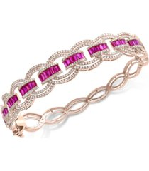 effy certified ruby (3 ct. t.w.) & diamond (2 ct. t.w.) bracelet in 14k rose gold