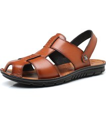 sandali in pelle vera intrecciata