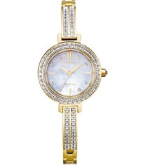 citizen eco-drive women's gold-tone stainless steel & swarovski crystal bangle bracelet watch 25mm