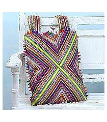 cotton shoulder bag, 'cross of colors' (india)