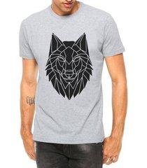 camiseta criativa urbana lobo tribal tattoo manga curta - masculino