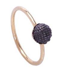 anel feminino ouro 18k brigadeiro ródio negro lafry elegante