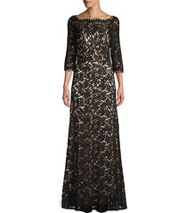 three-quarter sleeve lace gown