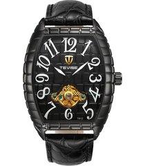 reloj de los hombres reloj de cocodrilo reloj luminoso-negro