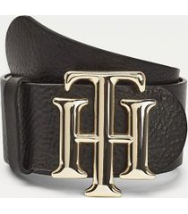 tommy hilfiger women's monogram leather belt black - 34