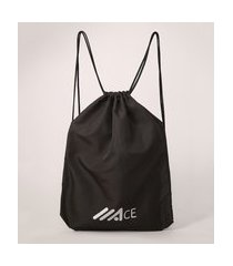 mochila sacola academia esportiva ace preta