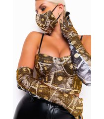 akira cash rules 2.0 rhinestone money gloves