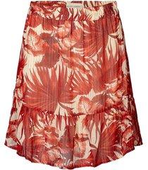 rok met bladerenprint en lurex alexa  rood