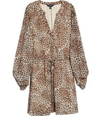 plus size women's ever new harper animal print long sleeve belted skater dress, size 16 us - brown