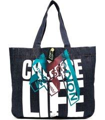 katharine hamnett london choose life denim tote bag - blue