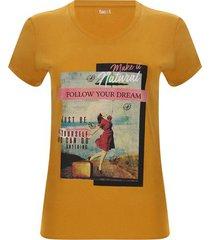 camiseta mujer natural color amarillo, talla m