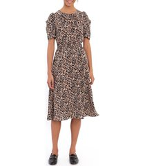 women's maggy london floral ruched sleeve a-line bubble crepe dress, size 10 - beige