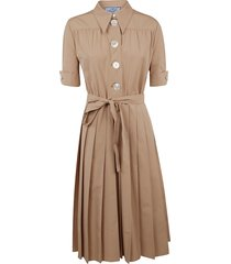prada pleated belted-waist dress