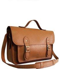 bolsa line store leather satchel grande couro caramelo