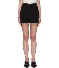 high waist pleated shorts
