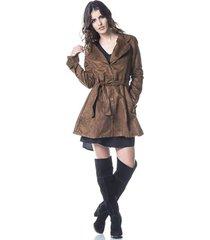 casaco gisele freitas sobretudo caramelo - caramelo - feminino - poliã©ster - dafiti