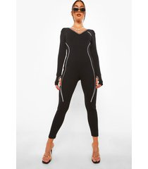 getailleerde jumpsuit met contrasterende stiksels, black