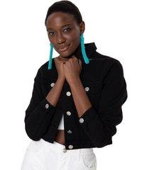 amaro feminino jaqueta sarja cropped color, preto