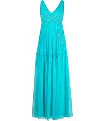 alberta ferretti floral-embroidered tulle maxi dress - blue