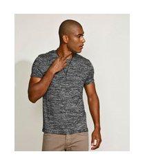 camiseta masculina slim manga curta gola careca cinza mescla escuro
