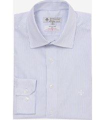 camisa dudalina manga longa tricoline listrado masculina (azul medio, 56)