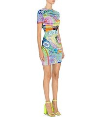baroque stretch jersey printed bodycon dress