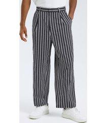 hombre vendimia casual de pierna ancha con cintura alta y estampado de rayas pantalones