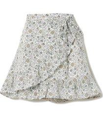 senna floral-print linen wrap mini skirt