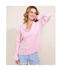 camisa de pijama feminina com vivo contrastante manga longa rosa
