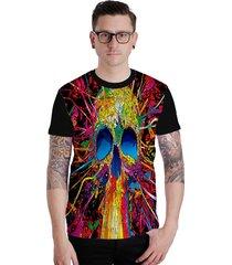 camiseta lucinoze camisetas manga curta colored skull preta