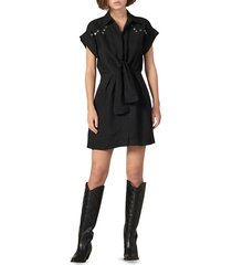 sandro women's mavel studded tie-front dress - black - size 40 (l)