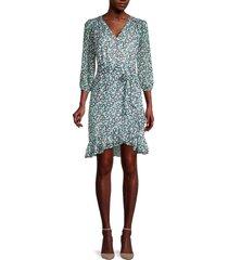karl lagerfeld paris women's ditzy floral-print faux-wrap dress - cerulean - size 10