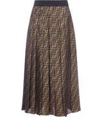 fendi ff-motif silk midi skirt